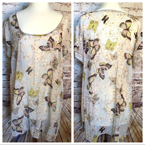 Sheer summer butterfly print tunic